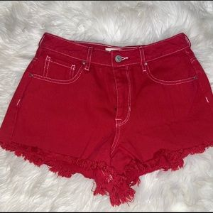 Pacsun red jean shorts